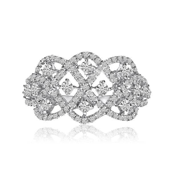 Twisted Wide Band Diamond Fashion Ring14k White Gold 1.00ct