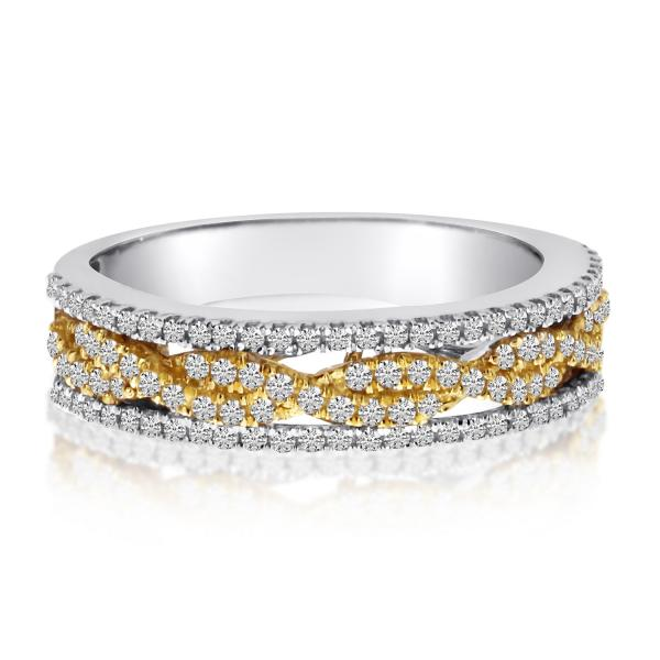 Multi Row Infinity Diamond Ring Wedding Band 14K Two-Tone Gold 0.51ct