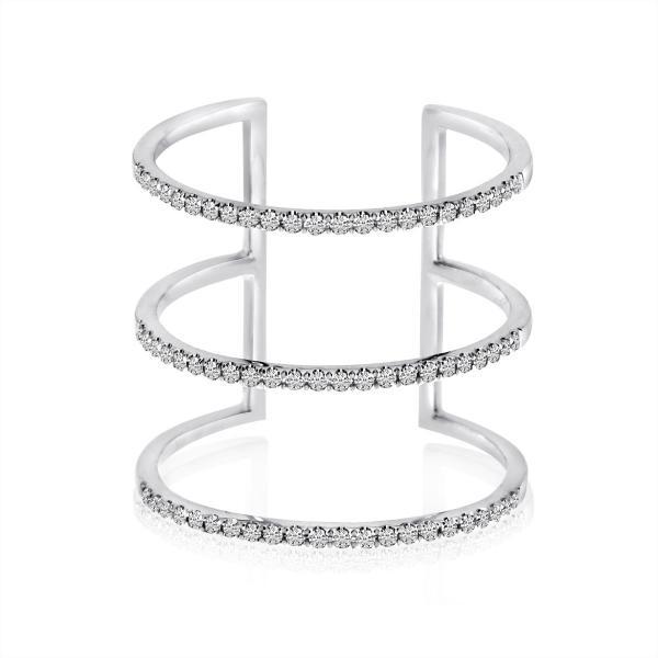 3-Row Diamond Fashion Ring 14k White Gold 0.25 ct