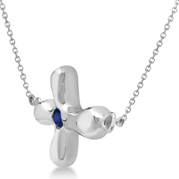 Rounded Sideways Blue Sapphire Cross Pendant 14k White Gold (0.08ct)