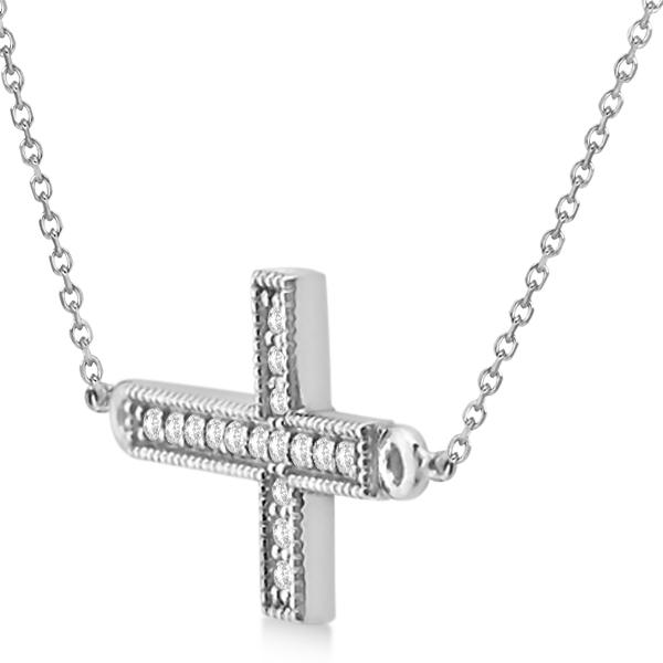 Vintage Diamond Sideways Cross Pendant Necklace 14k White Gold 0.20ct