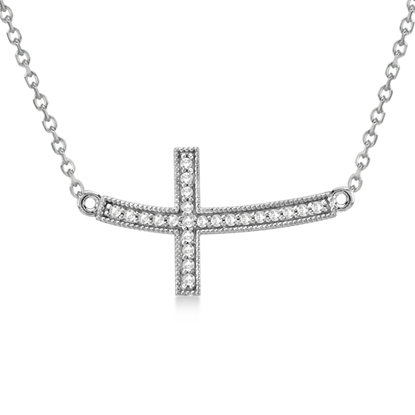 Sideways Curved Cross Necklace: Curved Diamond Sideways Cross Pendant Necklace 14k White