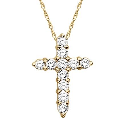 Petite Diamond Cross Pendant Necklace 14k Yellow Gold (0.33ct)