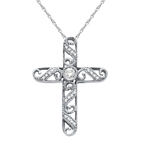 Filigree Diamond Cross Necklace Vintage Style 14k White Gold (0.18ct)