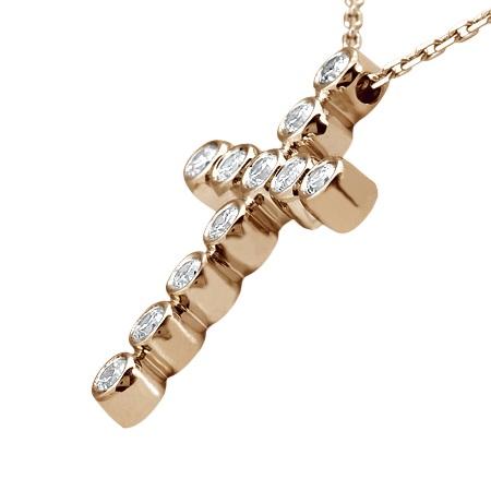 Bezel-Set Diamond Cross Pendant Necklace 14k Rose Gold Pink (0.33ct)