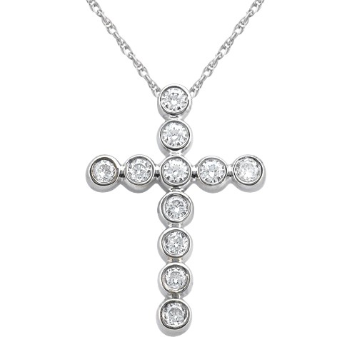 Bezel-Set Diamond Cross Pendant Necklace 14k White Gold (0.33ct)