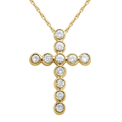 Bezel-Set Diamond Cross Pendant Necklace 14k Yellow Gold (0.33ct)
