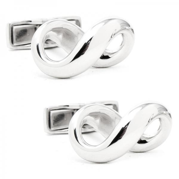 Men's Infinity Symbol Designed Cufflinks in Sterling Silver
