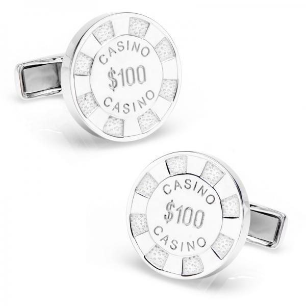 Men's Poker Chip Designed Cufflinks in Sterling Silver