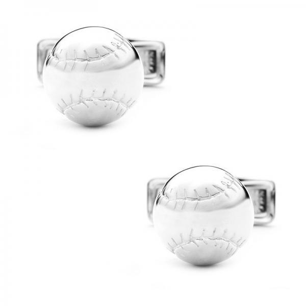 Men's Detailed Baseball Cufflinks in Sterling Silver