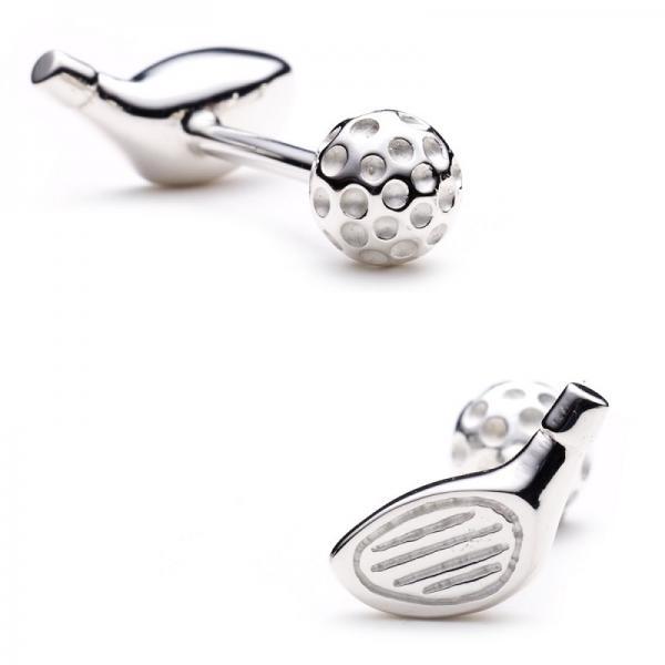 Golf Driver & Ball Cufflinks in Sterling Silver