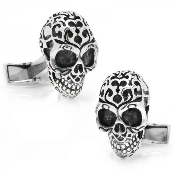 Fatale Skull Cufflinks 3-D Design in Sterling Silver