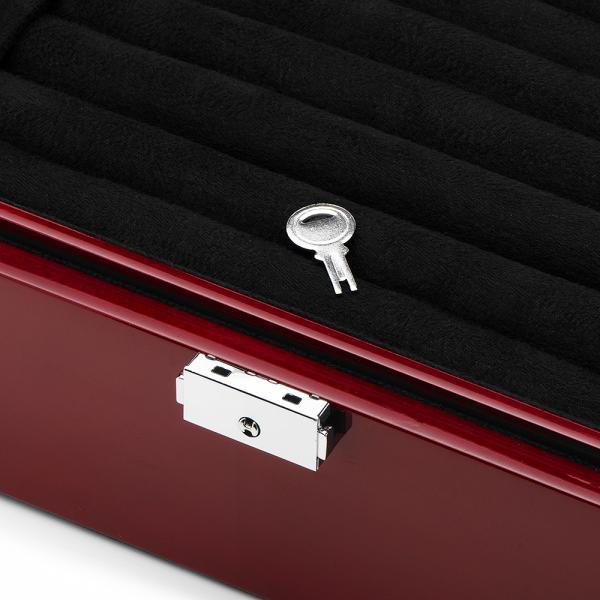 Men's Mahogany Oak Cufflink Case Jewelry Storage Holds 36 Pairs