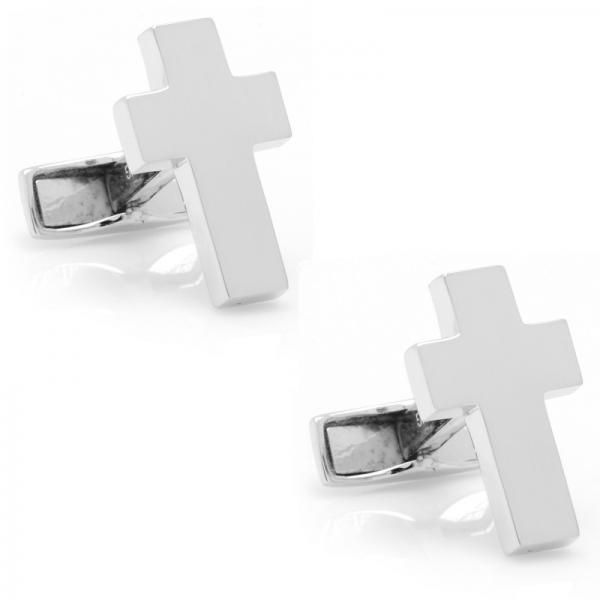 Cross Symbol Cufflinks in Sterling Silver