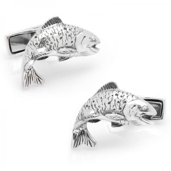 Swimming Salmon Cufflinks in Polished Sterling Silver