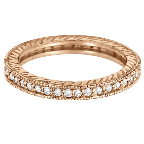 Stackable Diamond Eternity Filigree Ring Band 14k Rose Gold (0.50ct)