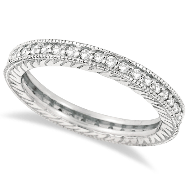 Stackable Diamond Eternity Filigree Ring Band 14k White Gold (0.50ct)