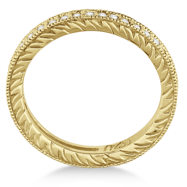 Stackable Diamond Eternity Filigree Ring Band 14k Yellow Gold (0.50ct)