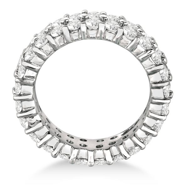 Two-Row Wide Band Diamond Eternity Ring 18k White Gold (2.50ct)