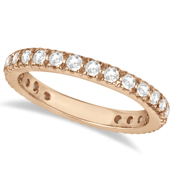 Pave Diamond Eternity Ring Anniversary Band 14K Rose Gold (0.75ct)