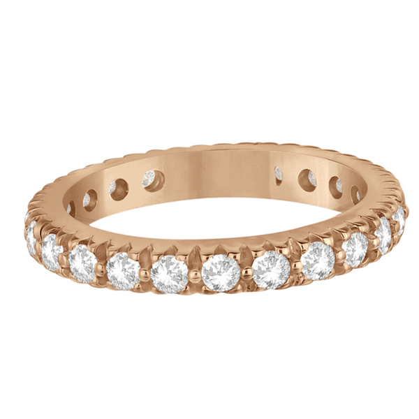 Pave Diamond Eternity Ring Anniversary Band 14K Rose Gold (1.01ct)