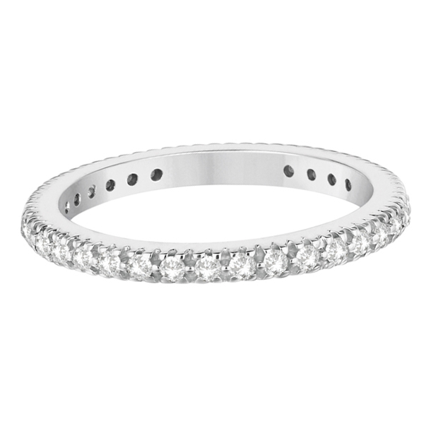 Pave Diamond Eternity Ring Anniversary Band 14K White Gold (0.50ct)