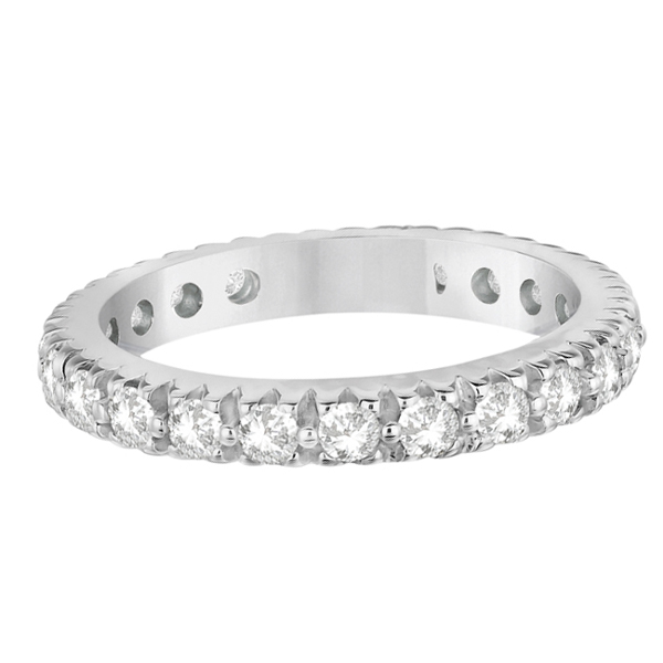 Pave Diamond Eternity Ring Anniversary Band 14K White Gold (1.01ct)