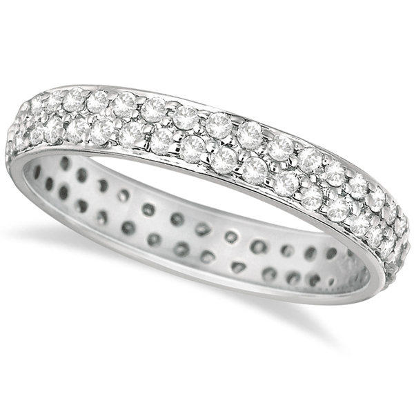 Two-Rows Luxury Diamond Eternity Ring Band 14k White Gold (0.75ct)