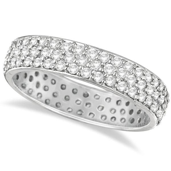 Three-Rows Luxury Diamond Eternity Ring Band 14k White Gold (1.05ct)