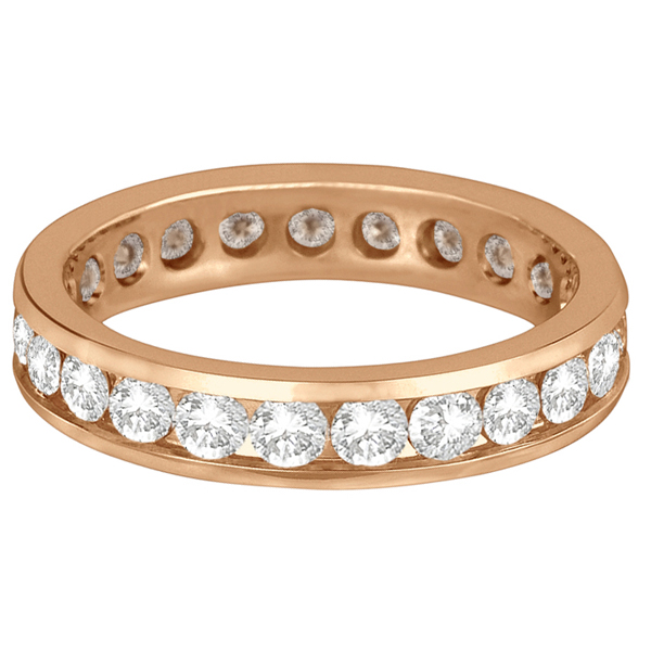Channel-Set Diamond Eternity Ring Band 14k Rose Gold (2.25ct)