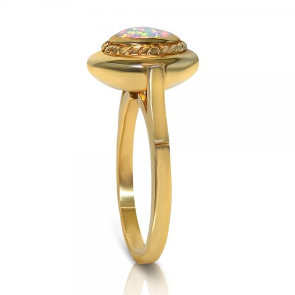 Oval Shaped Opal Ring Twisted Rope Design 14k Yellow Gold (0.76ct.)