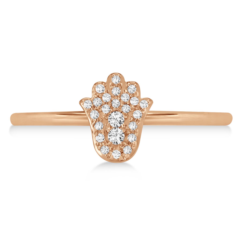 Diamond Hamsa Ring 14k Rose Gold (0.10ct)