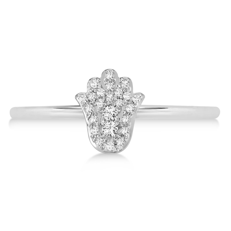 Diamond Hamsa Ring 14k White Gold (0.10ct)