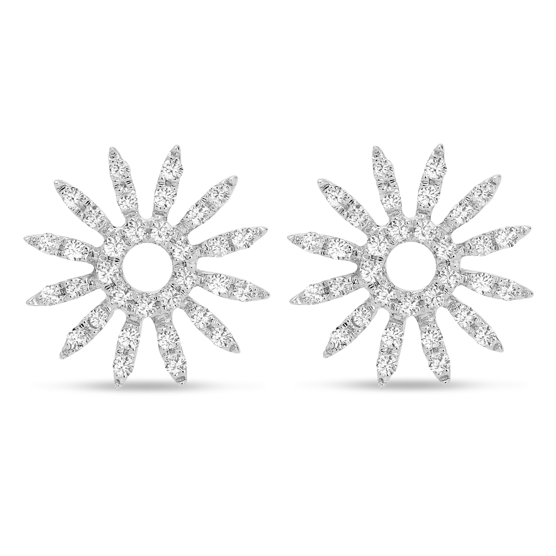 Diamond Sun Rays Earrings 14k White Gold (0.13ct)