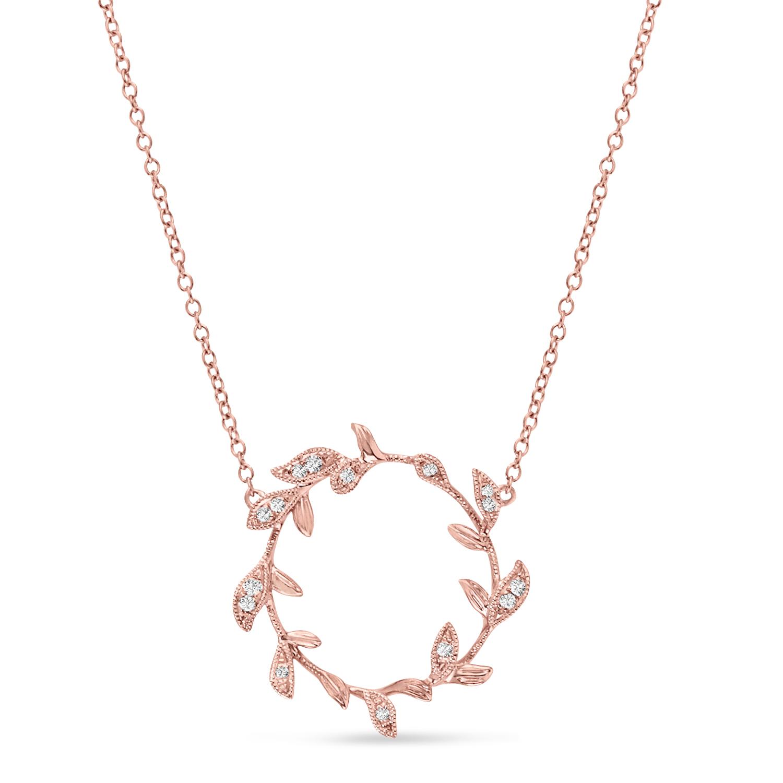 Diamond Wings Pendant Necklace 14k Rose Gold (0.07ct)