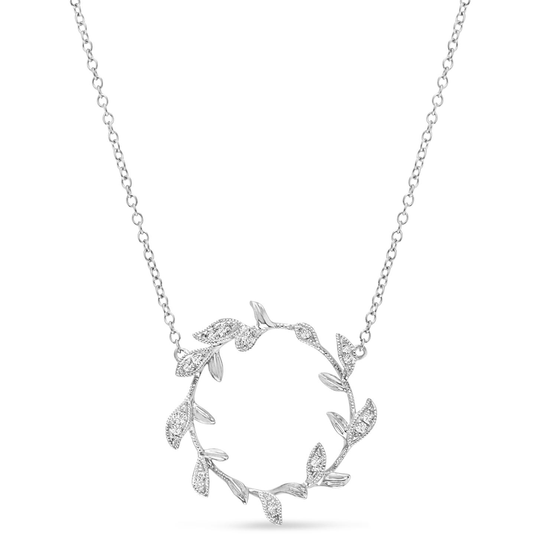Diamond Wings Pendant Necklace 14k White Gold (0.07ct)