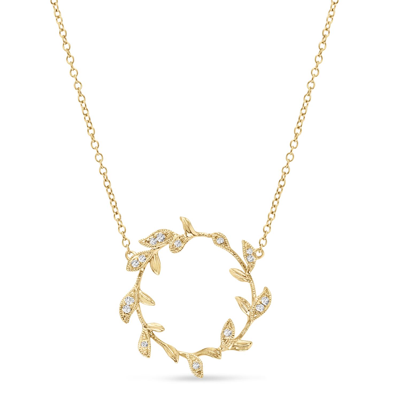 Diamond Wings Pendant Necklace 14k Yellow Gold (0.07ct)