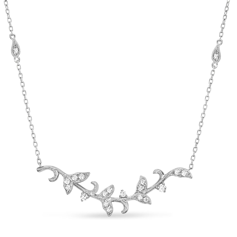 Diamond Vine Pendant Necklace 14k White Gold (0.25ct)