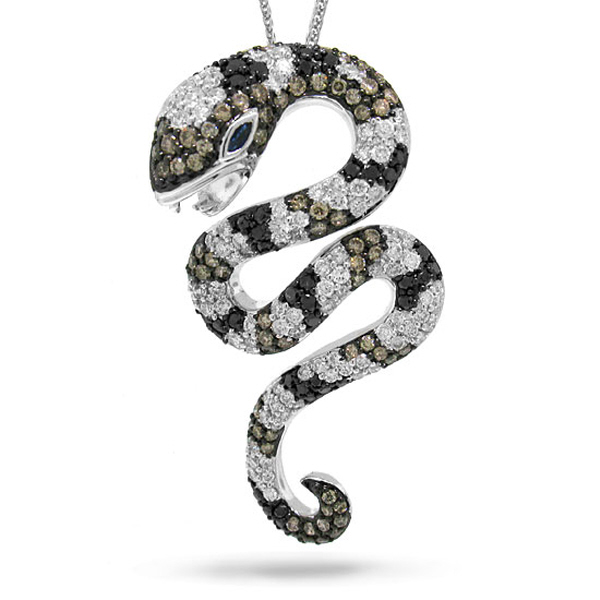 2.30ct 14k White Gold Fancy Color Diamond Snake Pendant Necklace