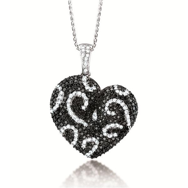 2 50ct 14k White Gold Black & White Diamond Heart Pendant Necklace