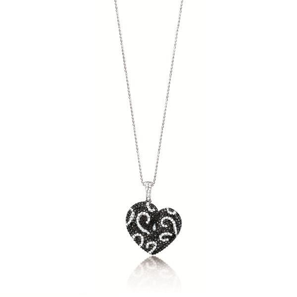 2.50ct 14k White Gold Black & White Diamond Heart Pendant Necklace