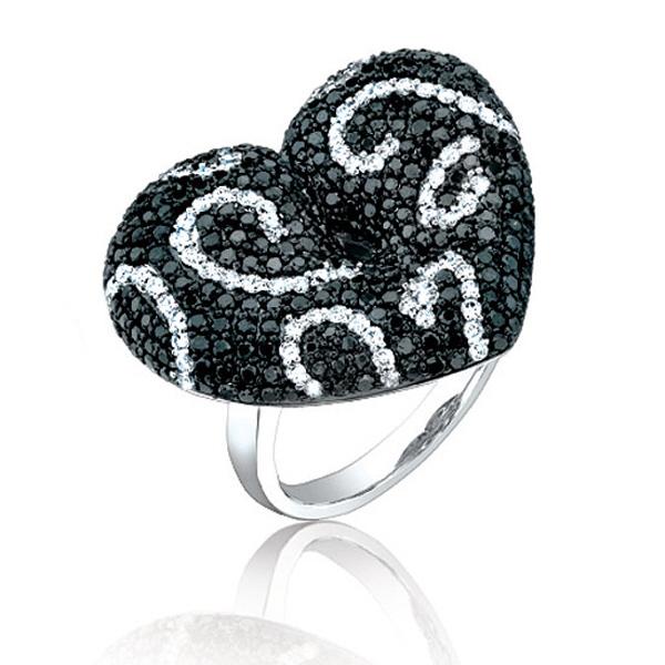2.50ct 14k White Gold Black & White Diamond Heart Ring