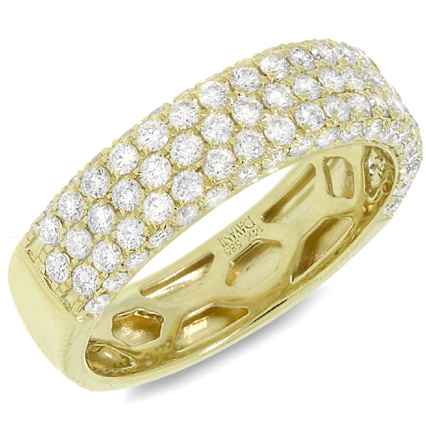 1.30ct 14k Yellow Gold Diamond Lady's Pave Band