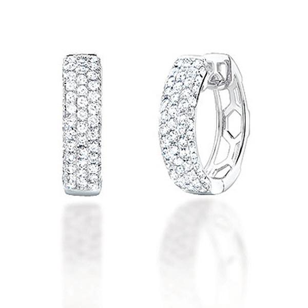 1.30ct 14k White Gold Diamond Hoop Pave Earrings