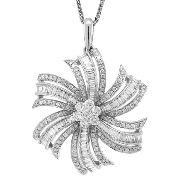 1.50ct 14k White Gold Diamond Flower Pendant Necklace
