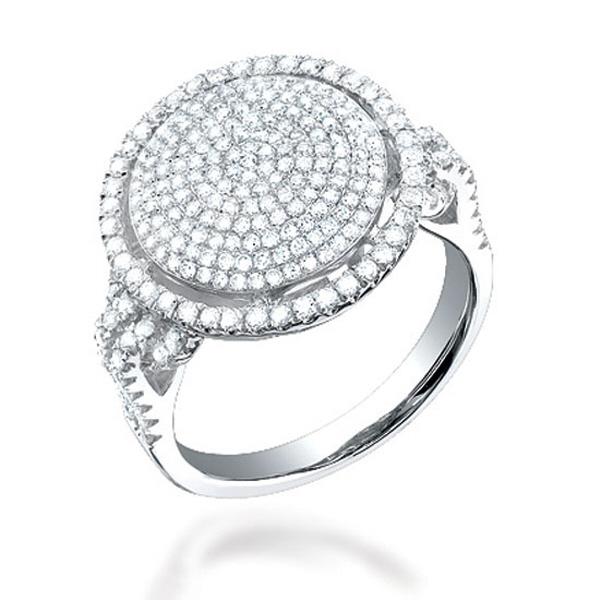 1.10ct 14k White Gold Diamond Pave ''O'' Ring
