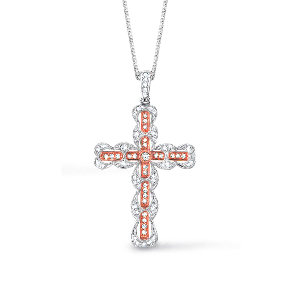 14k two tone rose gold diamond cross pendant. Black Bedroom Furniture Sets. Home Design Ideas