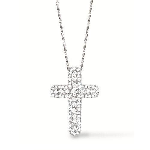 0.60ct 14k White Gold Diamond Cross Pendant Necklace