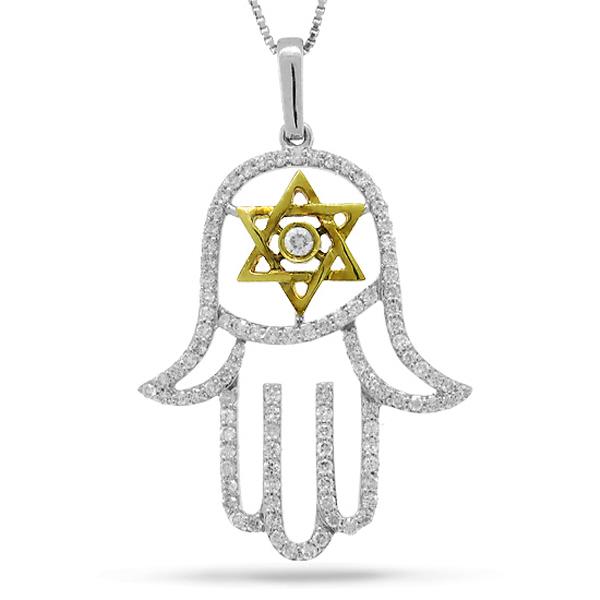 0.70ct 14k Two-tone Gold Diamond Hamsa Pendant Necklace