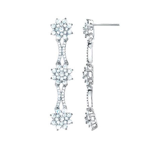 3.15ct 14k White Gold Diamond Fancy Earrings